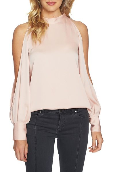 1.State cold shoulder top in shadow pink - Flash a little skin in this mock-neck top that...