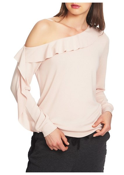 1.State cozy one-shoulder ruffle top in peach heather - Ruffles lead the way in a cuddle-ready top that takes...