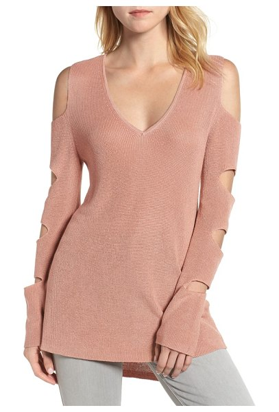 1.State cutout sweater in sheer blush - A new take on this season's shoulder-baring trend, this...