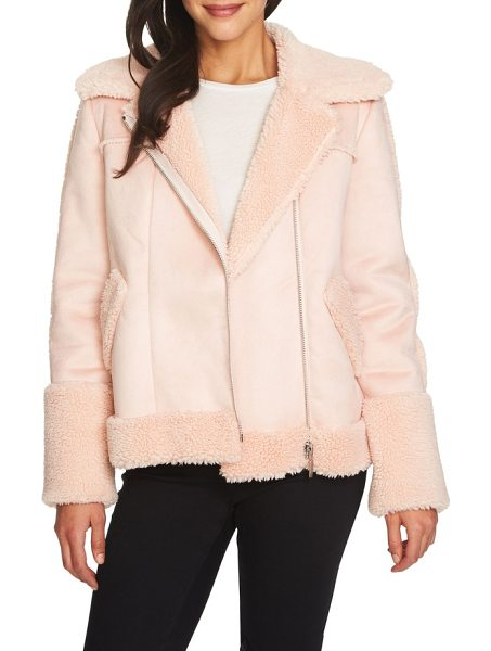 1.State faux shearling moto jacket in 808-shadow pink - Explore the softer side of the moto jacket with this...