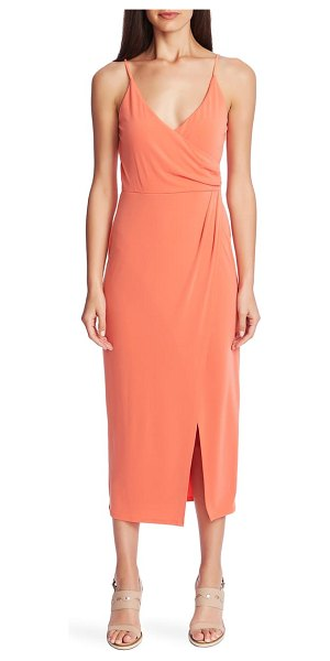 1.State faux wrap midi dress in coral