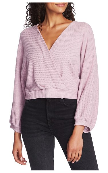 1.State faux wrap sweater in pink
