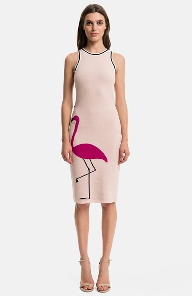 1.State flamingo body-con dress in cameo pink - A jacquard-woven flamingo gracefully struts along the...