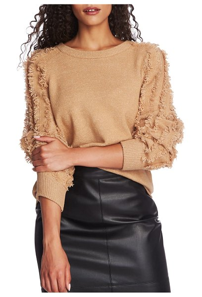 1.State fringe sleeve sweater in brown