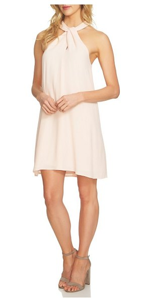 1.State halter shift dress in dawn blush - A crisp and breezy shift dress with a twisted halter...