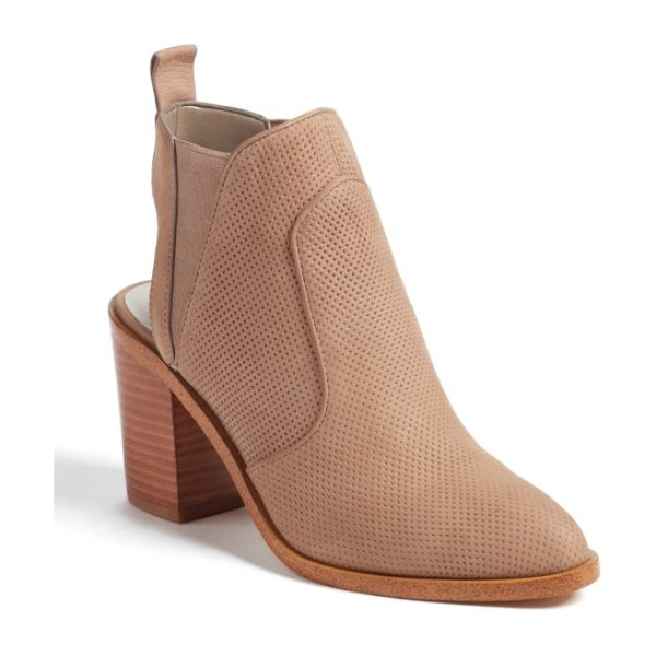 1.STATE leban cutout bootie in stone nubuck leather - An open counter and perforated leather construction add...