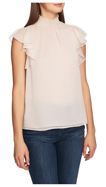 1.State mock neck flutter sleeve top in pink