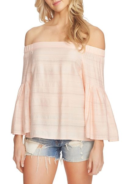1.State off the shoulder blouse in dawn blush - Fluttery, on-trend bell sleeves emphasize the carefree...