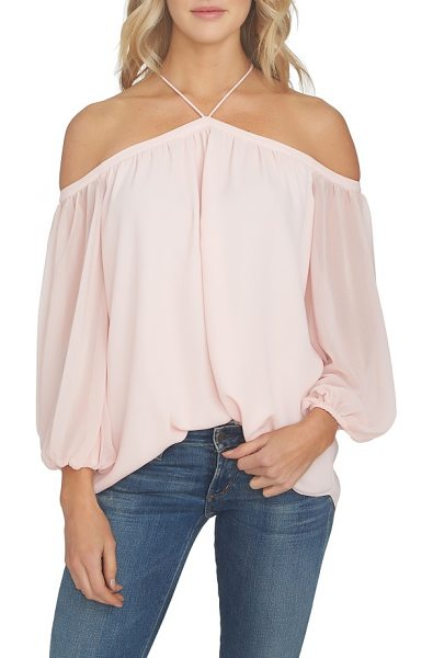 1.State off the shoulder sheer chiffon blouse in pink taffeta - Exposed shoulders and slender straps accentuate the...
