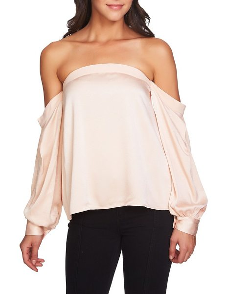 1.State off the shoulder satin top in blush frost - Business-like cuffs finish the long sleeves draping...