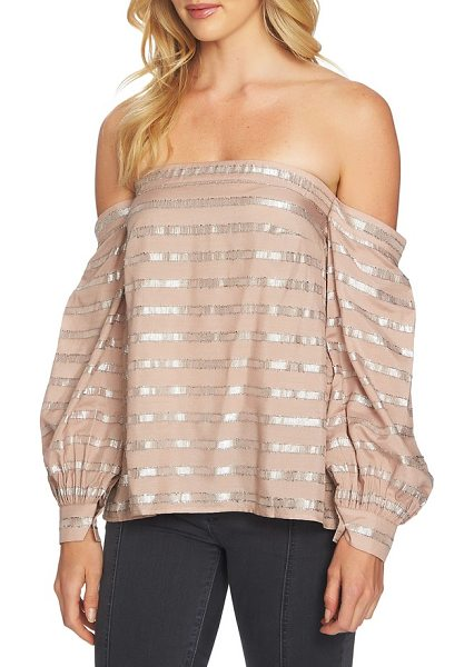 1.State off the shoulder top in taupe shell - Business-like cuffs cinch the billowy sleeves draping...