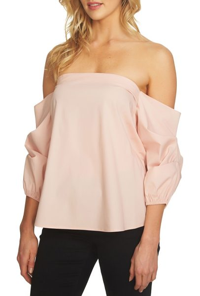 1.State off the shoulder voluminous blouse in shadow pink - A straight, off-the-shoulder neckline and voluminous...