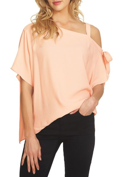 1.State one-shoulder tie sleeve blouse in shadow pink - A one-shoulder neckline adds of-the-moment style to a...