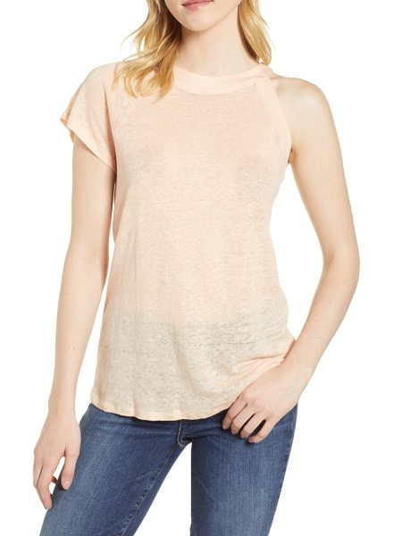 1.State one-sleeve linen tee in pearl bead - A lightweight linen tee is left sleeveless on one side...
