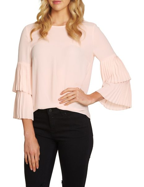 1.State pleated sleeve blouse in pink opal - Pretty, pleated tiers elevate this otherwise simply...
