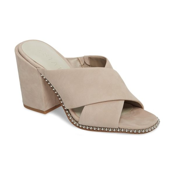 1.State ricard sandal in taupe suede - Gleaming rounded studs outline the silhouette of a chic...