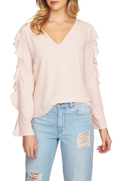 1.State ruffle cold shoulder top in 808-shadow pink - Pretty ruffles edge the cutouts on an easy-fitting top...