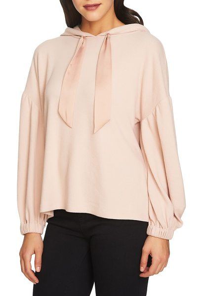 1.State satin tie hoodie in blush frost - Elevate your weekend wardrobe game in this brushed...