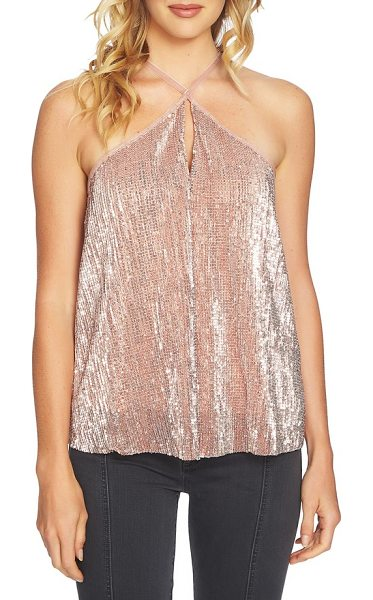 1.State sequin halter camisole in lustre nude - Party-ready sequins and sumptuous velvet trim elevate...