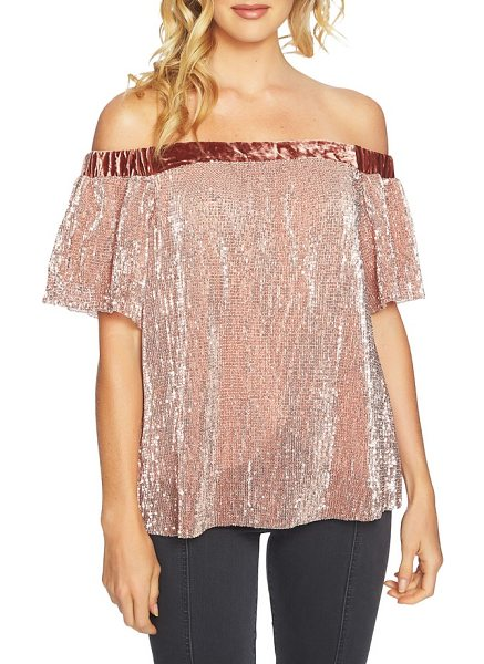 1.State sequin & velvet off the shoulder top in lustre nude - Sparkling sequins and party-ready velvet elevate a...