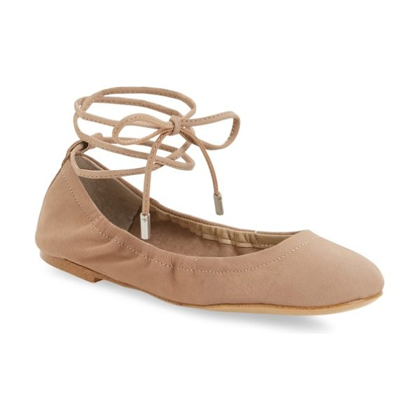 1.State skkylar ankle wrap flat in stone nubuck leather - Slender wraparound lacing adds chic, right-on-trend...