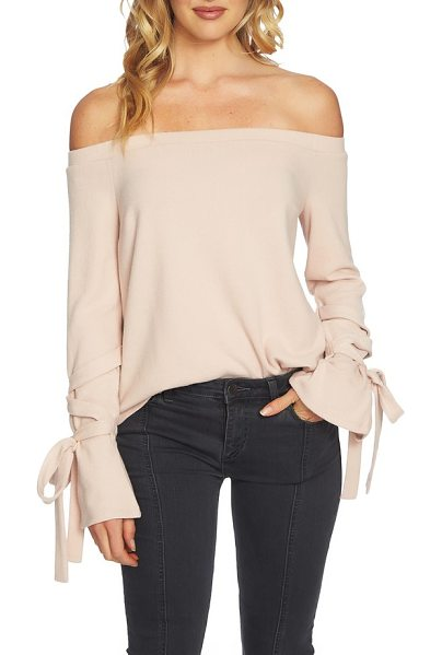 1.State the cozy tie sleeve off the shoulder sweater in blush frost