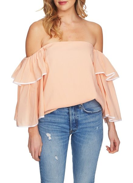 1.State tiered sleeve off the shoulder top in golden apricot - Sunshine-ready in a shoulder-flaunting silhouette, this...
