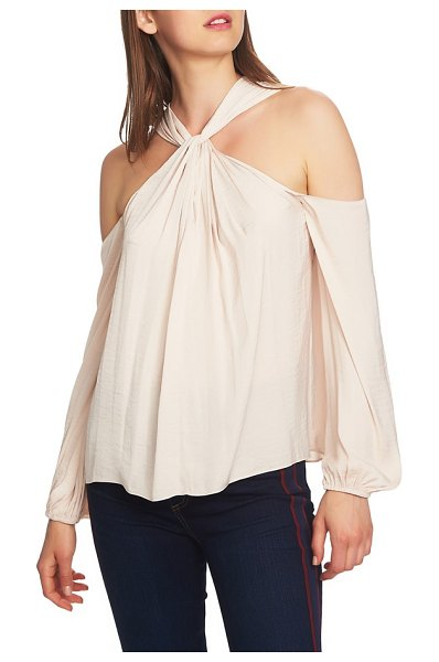 1.State twist neck cold shoulder blouse in pink - Set up your shoulders for a dazzling display in a...