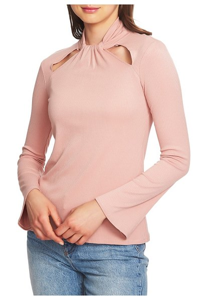 1.State twist neck cutout detail rib knit top in pink - Call out those cute collarbones in a body-con top with a...