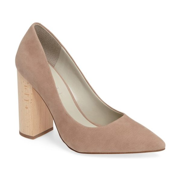 1.State valencia block heel pump in stone nubuck leather - Vertical woodgraining emphasizes the height of the...