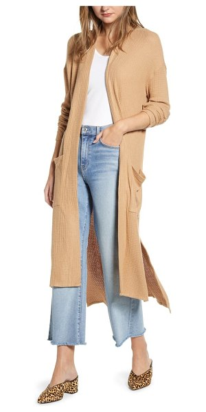 1.State waffle knit long cardigan in brown