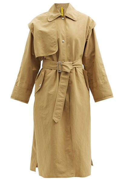 2 Moncler 2 moncler 1952 - coral single-breasted shell trench coat in tan