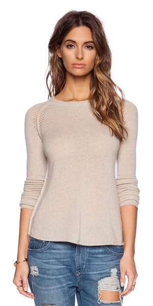 27 miles malibu Annabella sweater in beige - 100% cashmere. Hand wash cold. Thumbhole cut-outs....