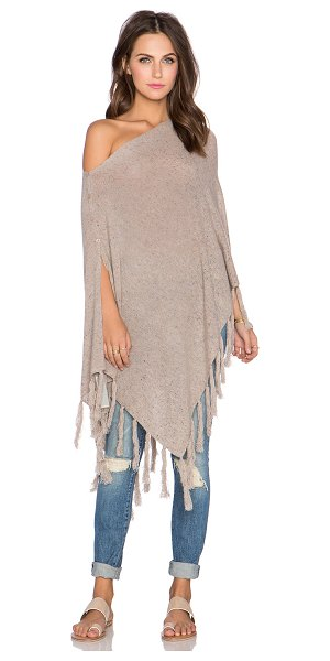 27 miles malibu Chumash fringe poncho in taupe - Cashmere blend. Dry clean only. Button front closure....