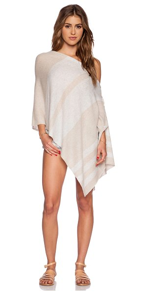 27 miles malibu Chumash stripe poncho in beige - 100% cashmere. Hand wash cold. Front button closure....