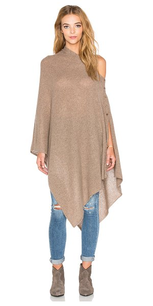 27 miles malibu Lexi solid poncho in brown - 100% cashmere. Hand wash cold. Button closures....