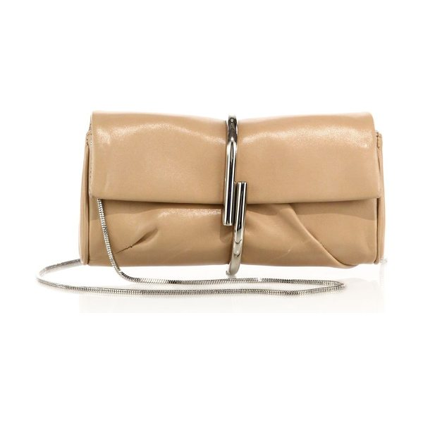 3.1 Phillip Lim alix leather chain clutch - Sleek leather clutch with sculptural metal clasp and...