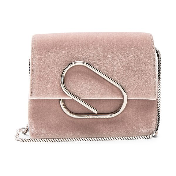3.1 PHILLIP LIM Alix Micro Crossbody Bag in blush - Velvet fabric with grosgrain lining and silver-tone...