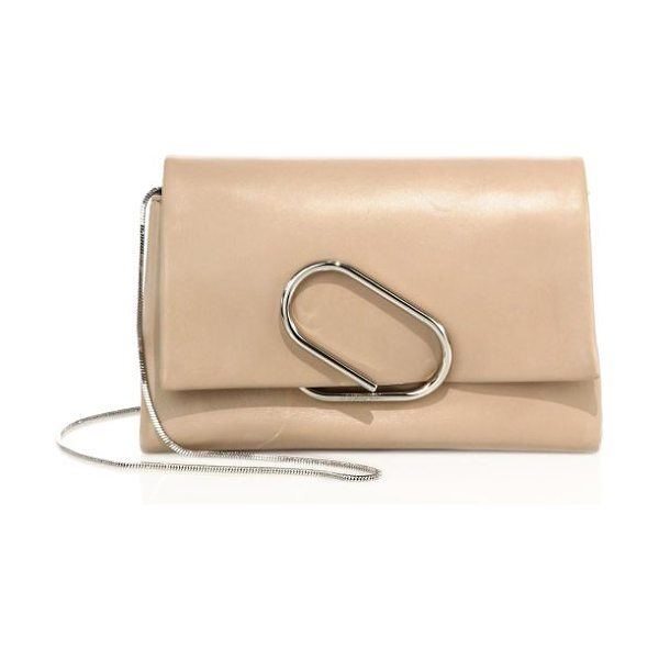 3.1 Phillip Lim alix soft flap leather chain clutch in natural white - Supple lambskin clutch cinched by sculptural metal band....