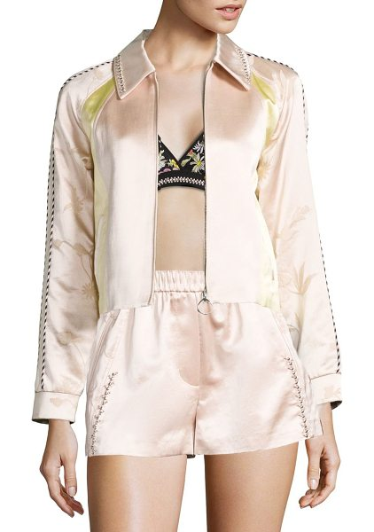 3.1 Phillip Lim beaded silk western jacket in powder pink - Plush silk jacket accentuated with beaded collar. Spread...