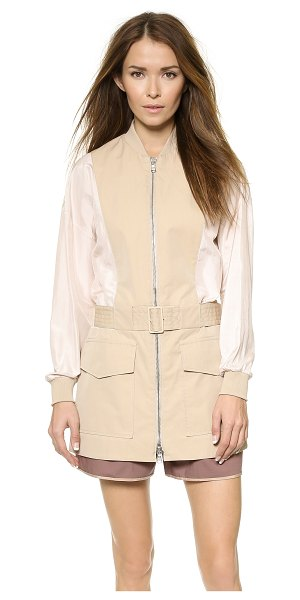3.1 Phillip Lim Belted safari jacket in khaki - Sturdy canvas and airy, crinkled silk compose this 3.1...