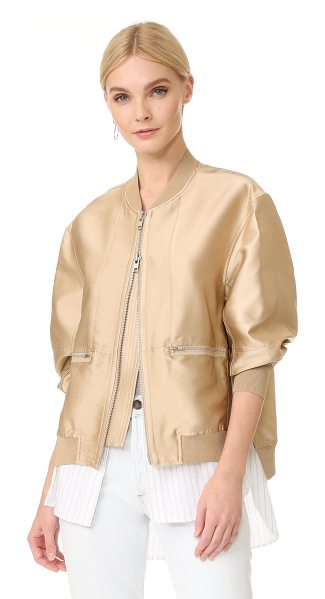 3.1 Phillip Lim bomber jacket with shirting in nude - This 3.1 Phillip Lim bomber jacket has a panel of...