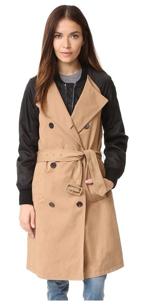 3.1 Phillip Lim 3.1 Phillip Lim Bomber Trench Coat in khaki - Contrast sleeves and snug cuffs add bomber detailing to...