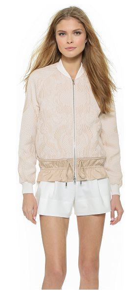 3.1 Phillip Lim Cinched cloque bomber in powder - Cinched elastic gathers the nylon drawstring hem of this...