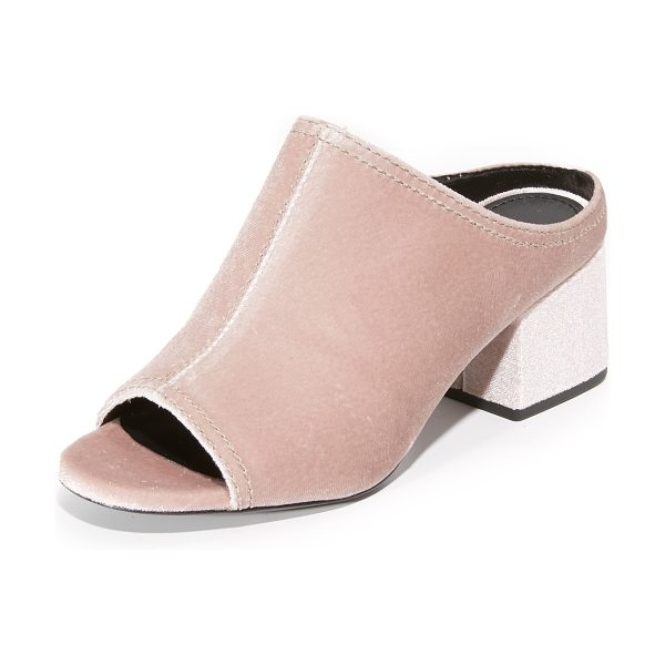 3.1 Phillip Lim cube mules in blush - Soft velvet 3.1 Phillip Lim mules in a retro silhouette....
