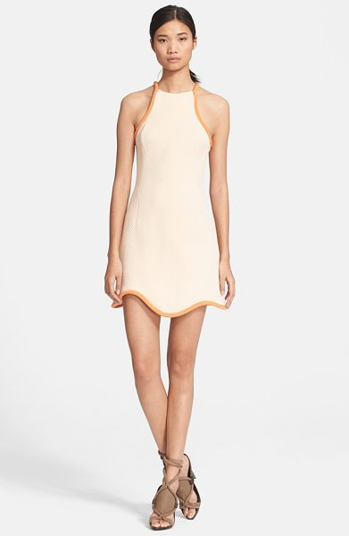 3.1 Phillip Lim cutaway cotton waffle knit dress in whisper pink - Thick corded silk in a darker shade traces the cutaway...