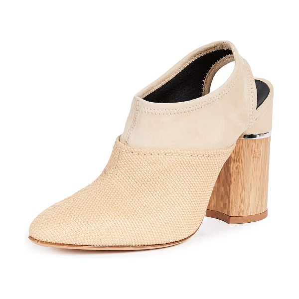 3.1 Phillip Lim drum slingback mules in beige - Fabric: Raffia Leather: Sheepskin Sling-back strap...