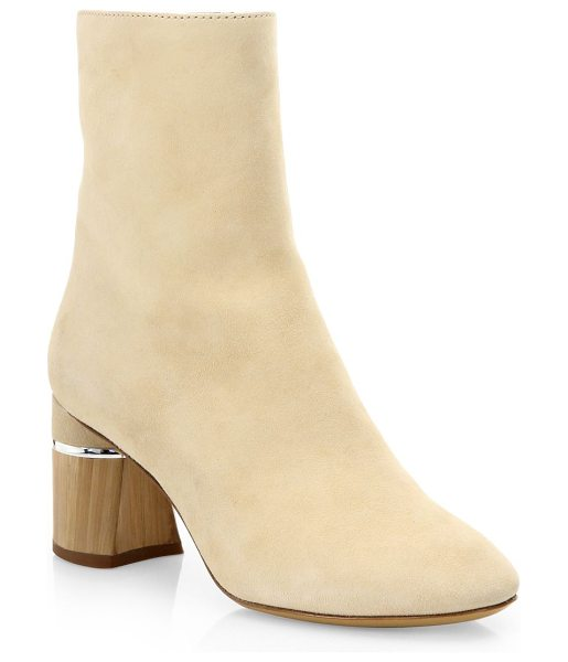 3.1 PHILLIP LIM drum suede booties in ecru - Suede booties with textured finish detail. Covered heel,...