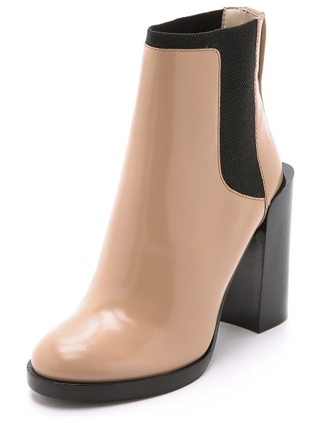 3.1 Phillip Lim Emerson short chelsea booties in nude - These 3.1 Phillip Lim booties have a chunky, raised heel...
