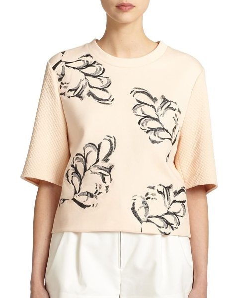 3.1 Phillip Lim Fern-embossed crewneck top in whisperpink - An embossed fern print heightens the textural appeal of...
